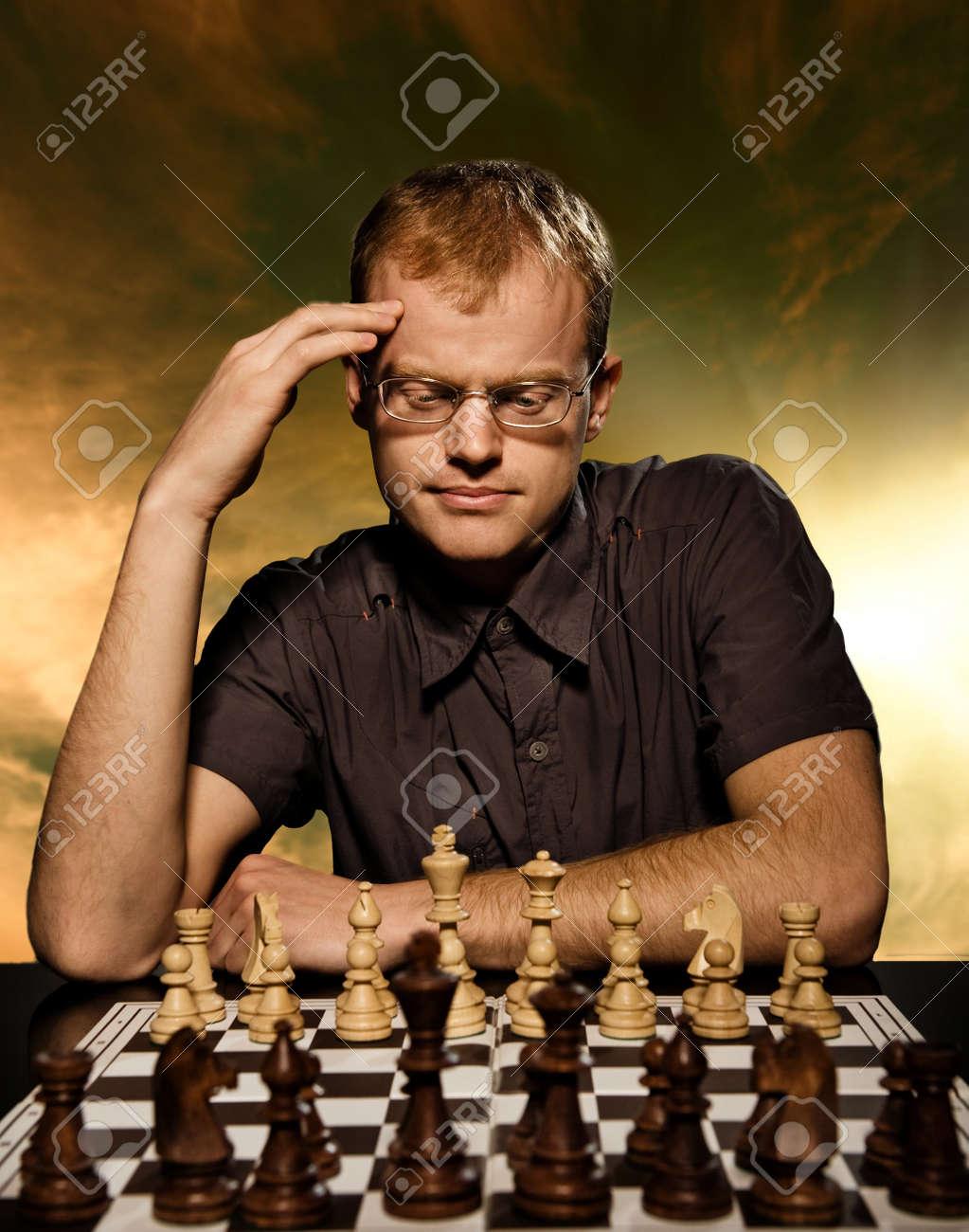 Thoughtful chess master Stock Photo - 4475924