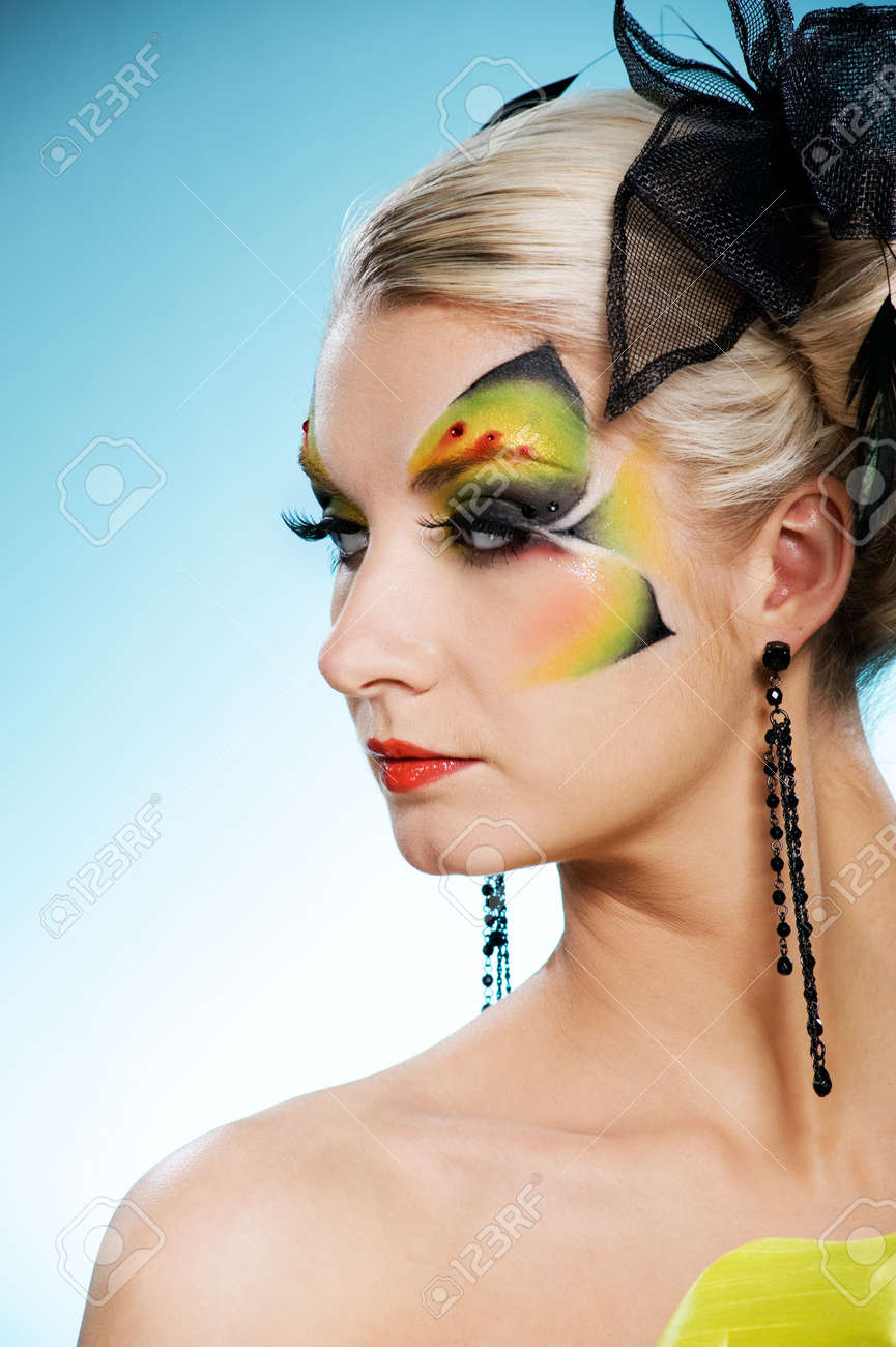 Young Beauty With Butterfly Face-art Stock Photo, Picture And ...