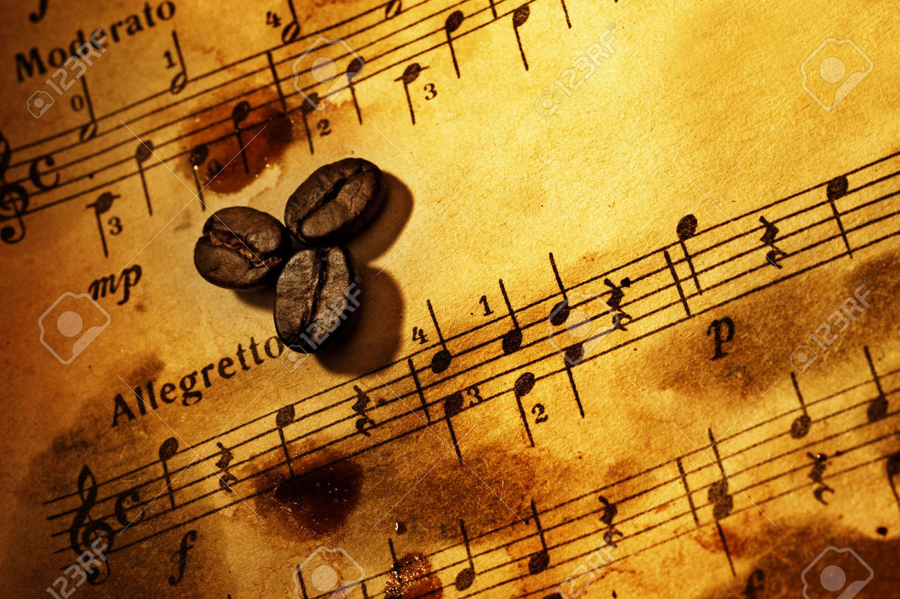 Coffee beans on a grungy musical background Stock Photo - 4644166