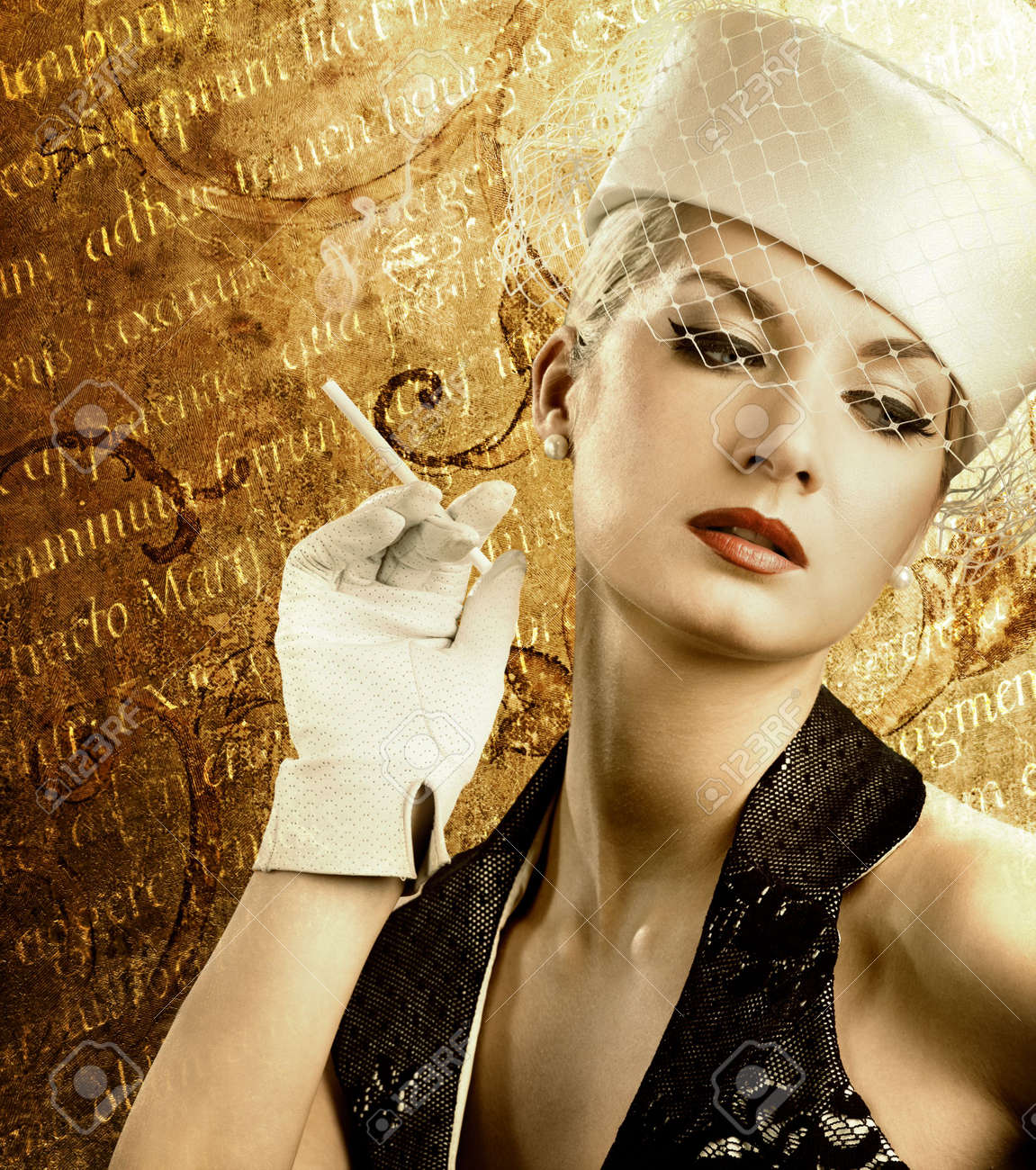 Beautiful smoking woman over abstract vintage background Stock Photo - 4644153