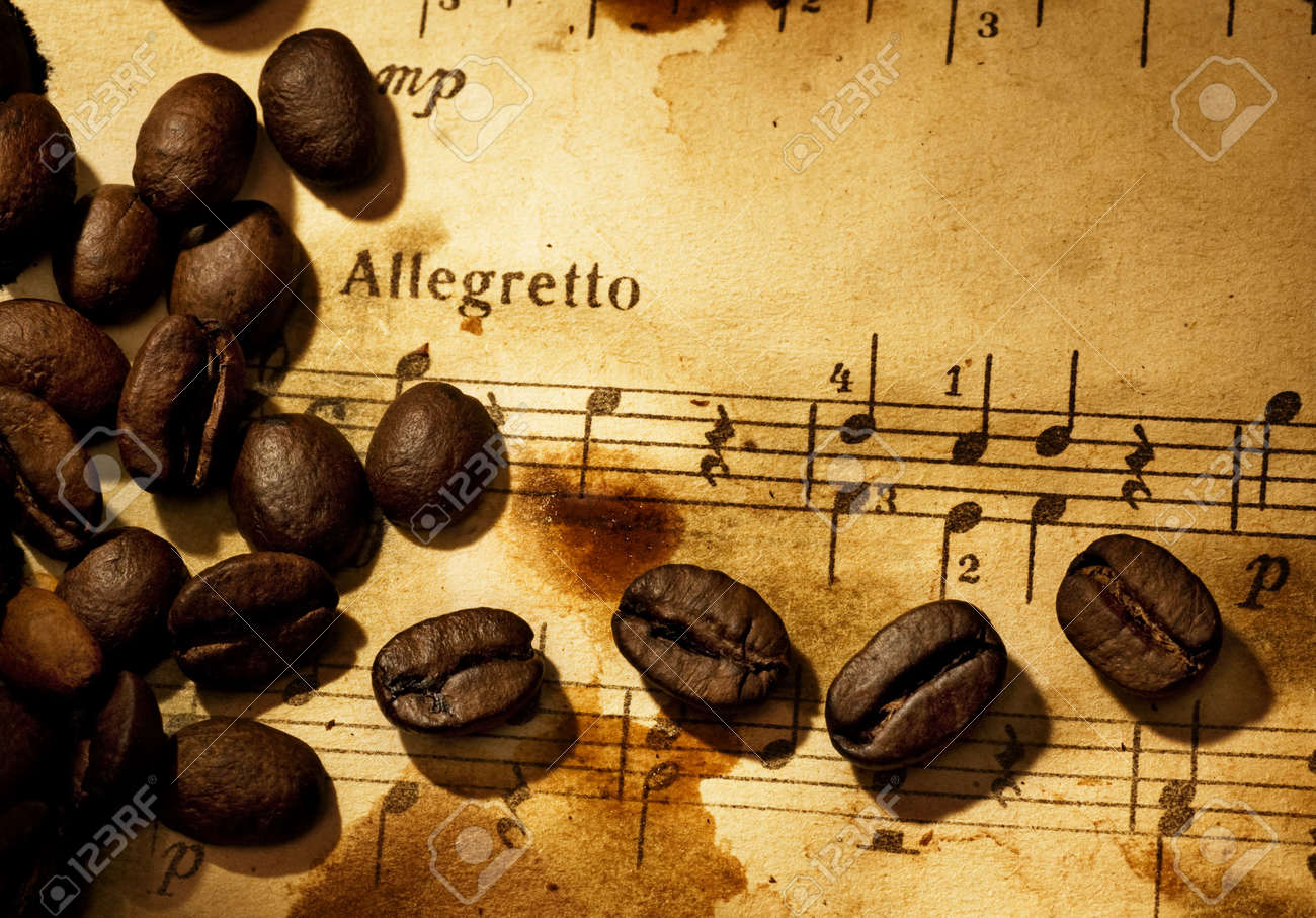 Coffee beans on a grungy musical background Stock Photo - 4720567