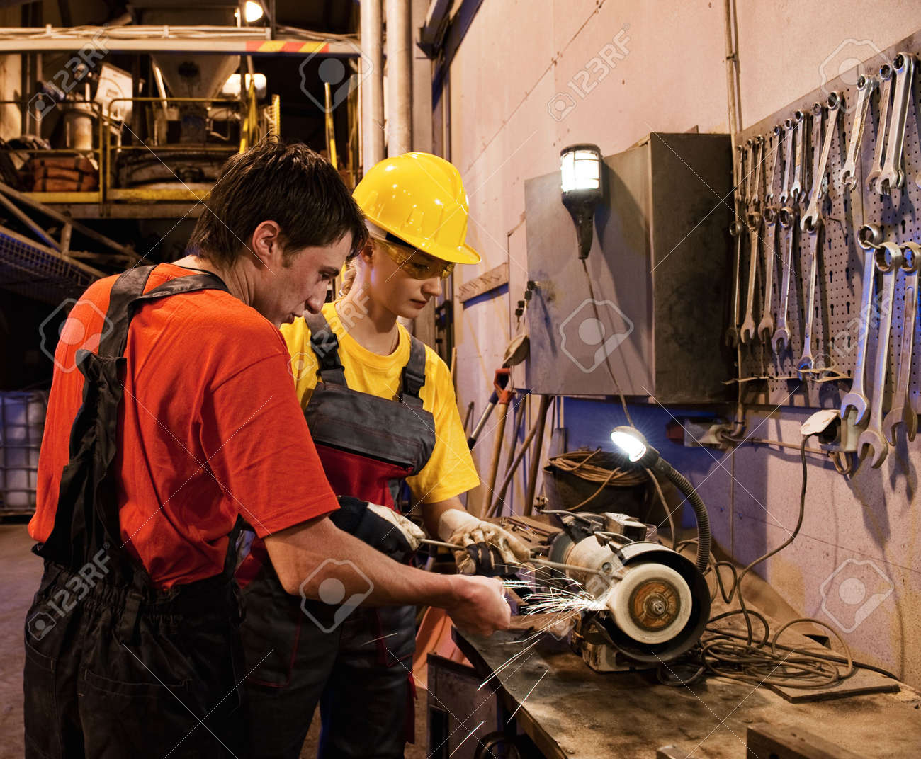 Man and woman working together Stock Photo - 4954511