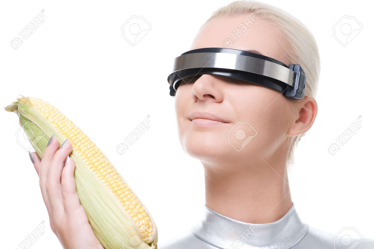 Cyber woman with a corn Stock Photo - 6088399