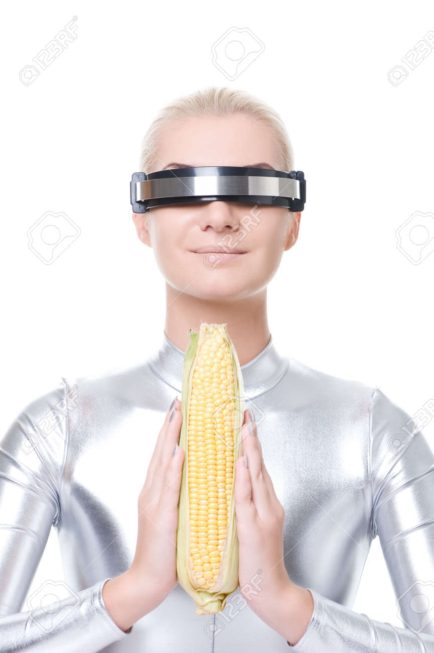 Cyber woman with a corn Stock Photo - 6088401