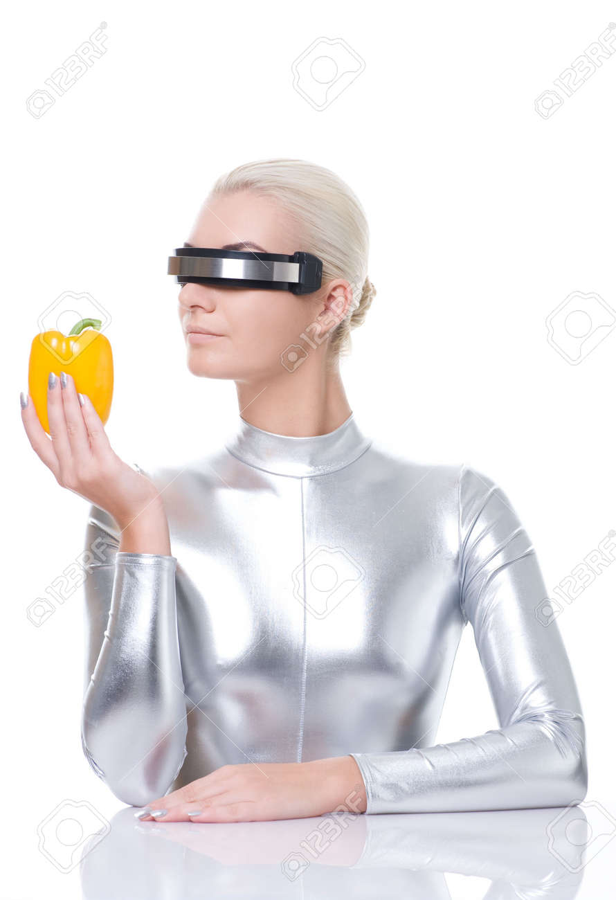Cyber woman with sweet pepper Stock Photo - 6088406