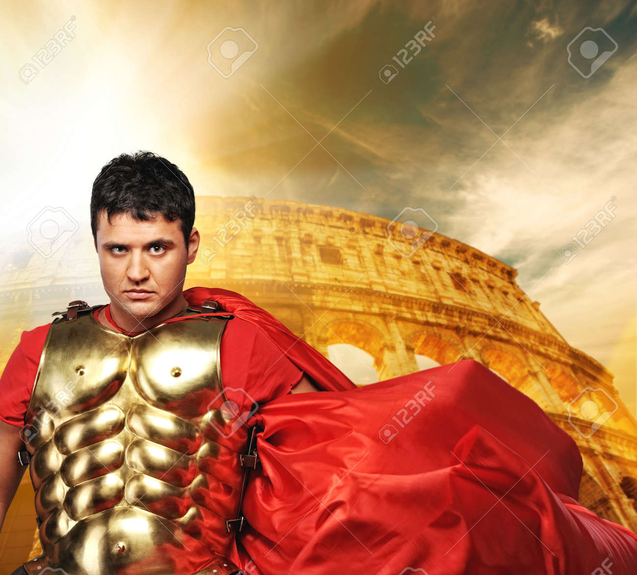 Roman legionary soldier in front of coliseum Stock Photo - 6745258