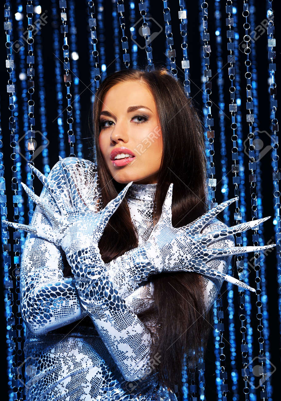 Beautiful Brunette With Long Nail Gloves Stock Photo, Picture And ...