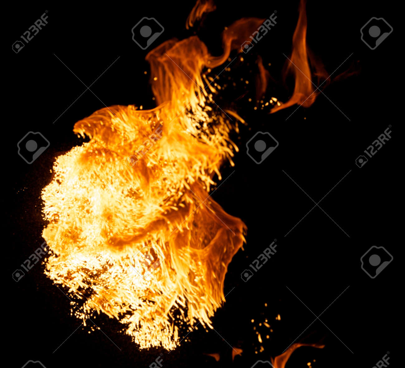 Fire explosion isolated on black background Stock Photo - 8932875