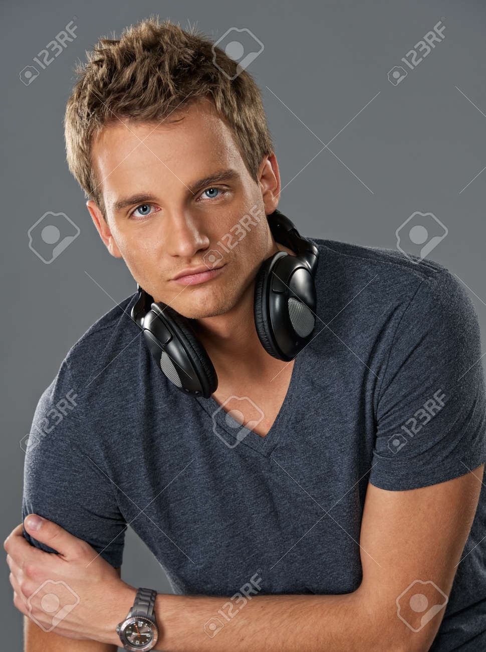 Young man with a headphones Stock Photo - 8953788