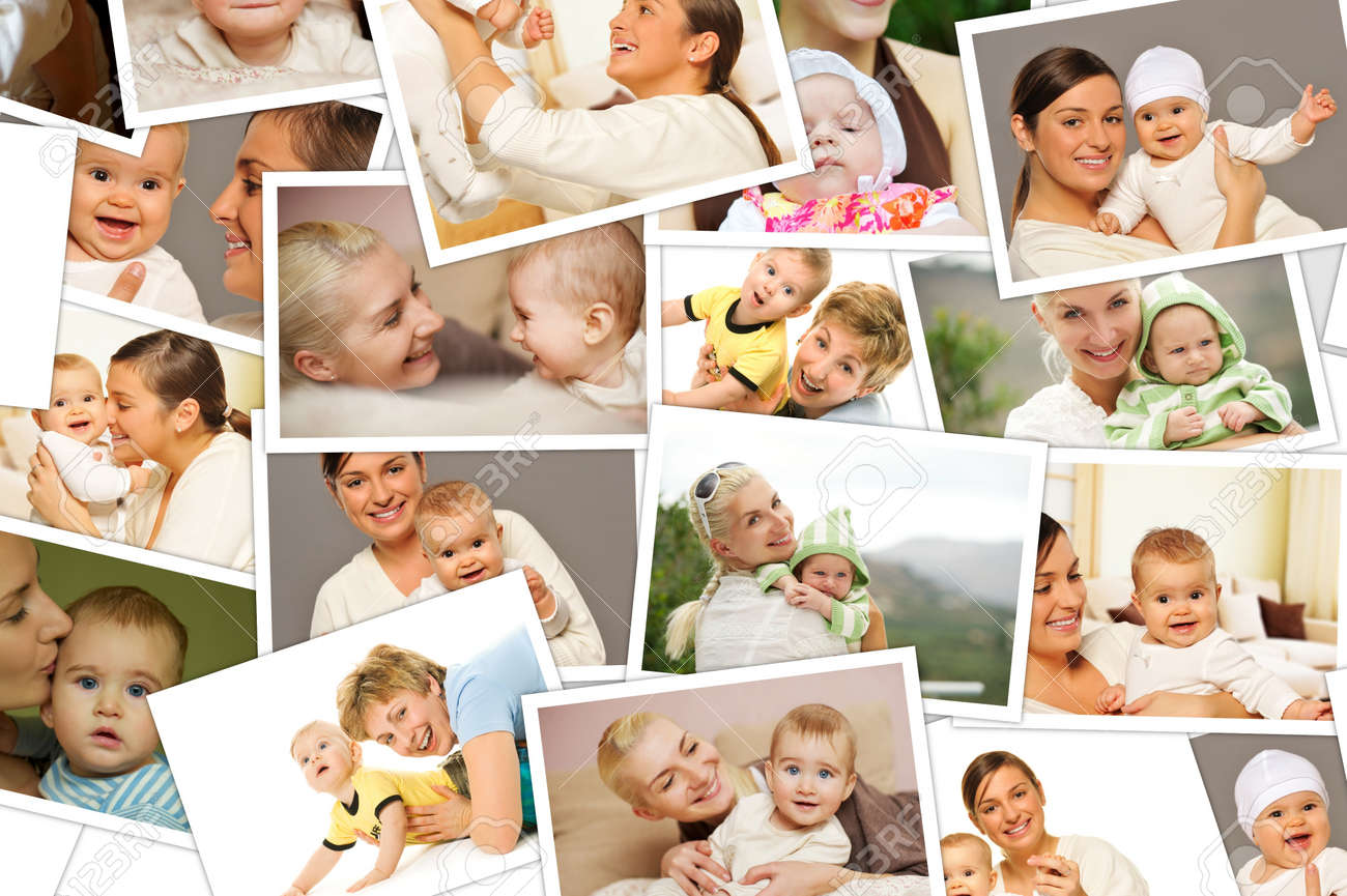 mother with a child collage stock photo 9116389