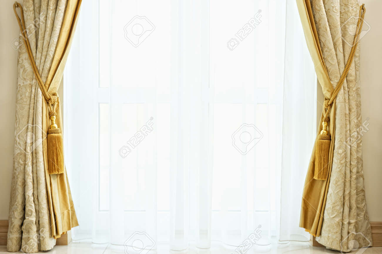 luxury curtain with a copyspace in the middle stock photo