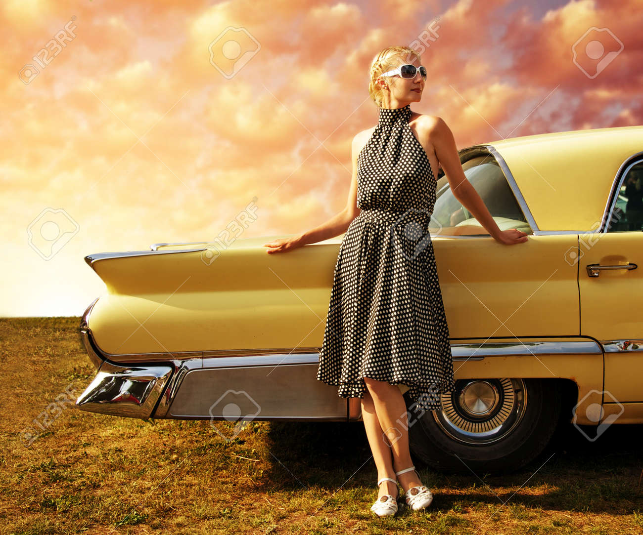 Beautiful Lady Standing Near Retro Car Stock Photo Picture And