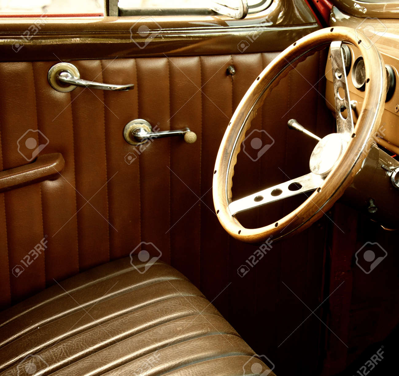 Vintage Car Interior. Stock Photo, Picture And Royalty Free Image ...