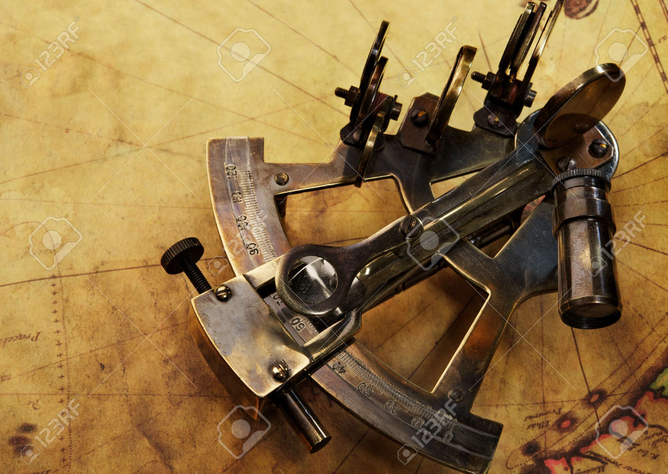 Sextant on an old map Stock Photo - 11395703