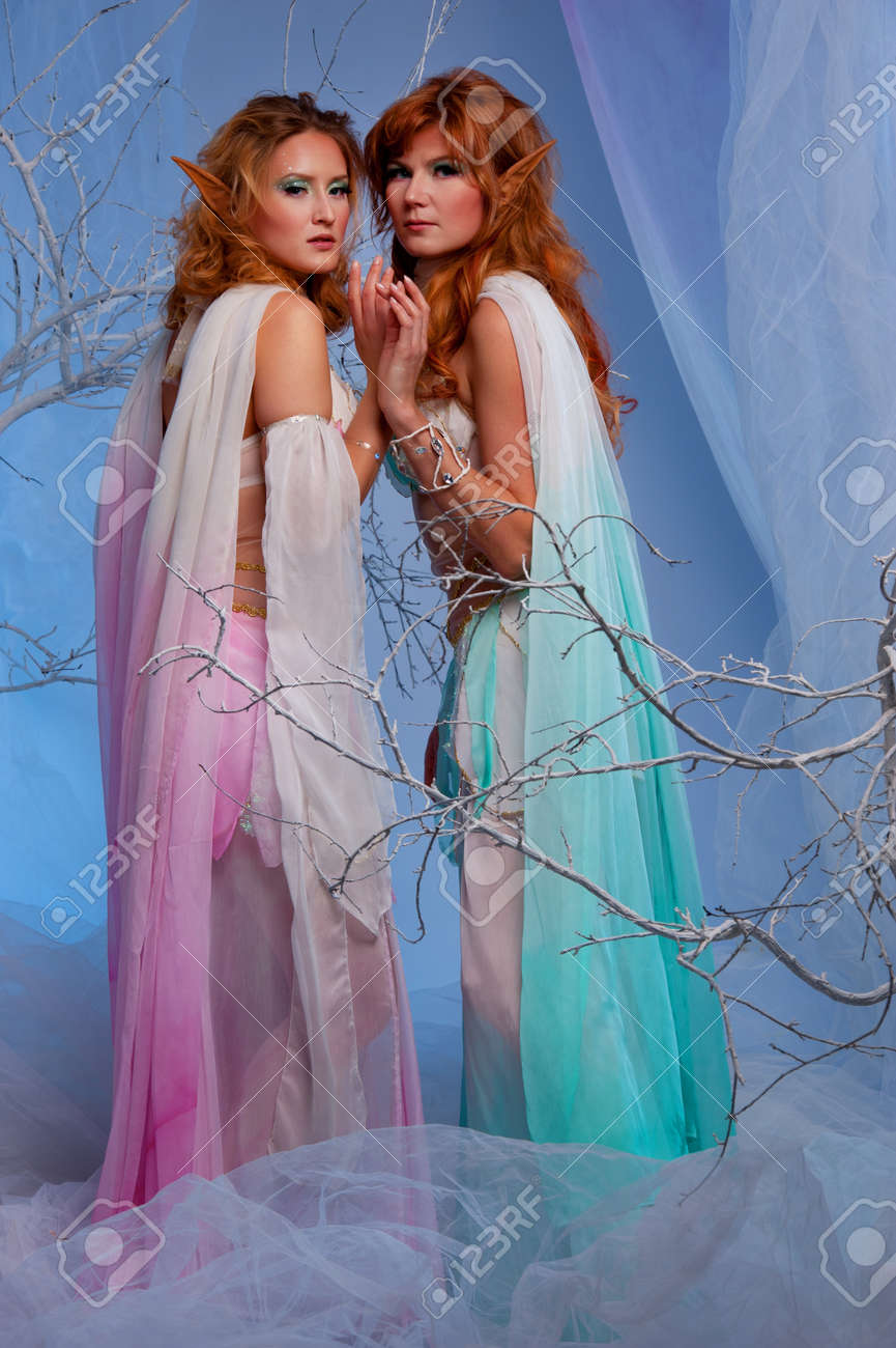 Elves in magical winter forest. Stock Photo - 12148937