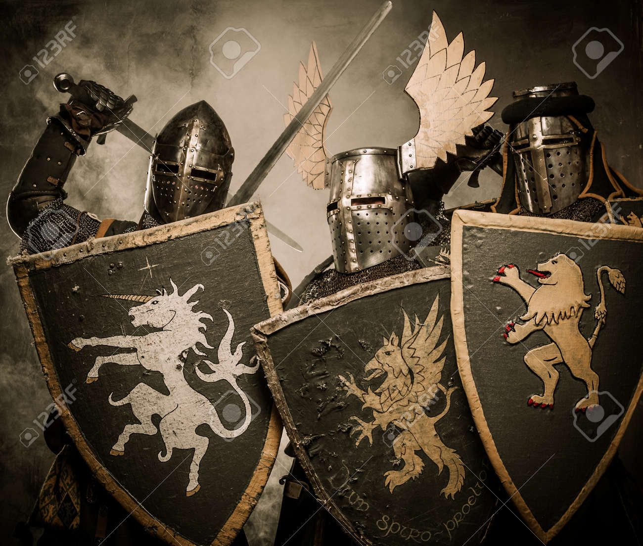 Three medieval knights Stock Photo - 15645273