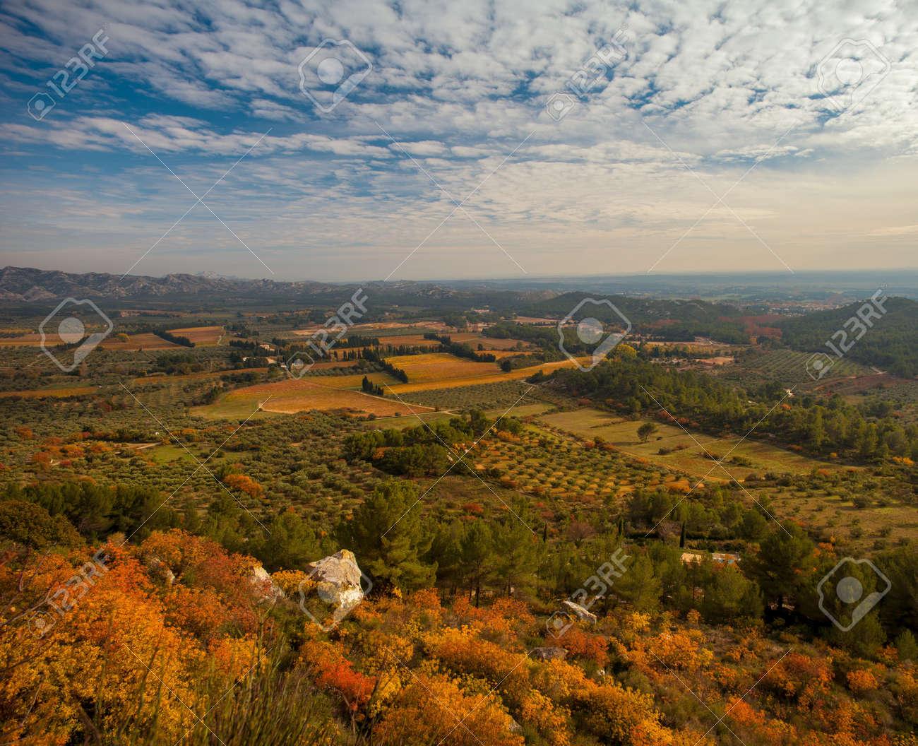 Beautiful panoramic view at  Les Baux-de-Provence, France Stock Photo - 16752083