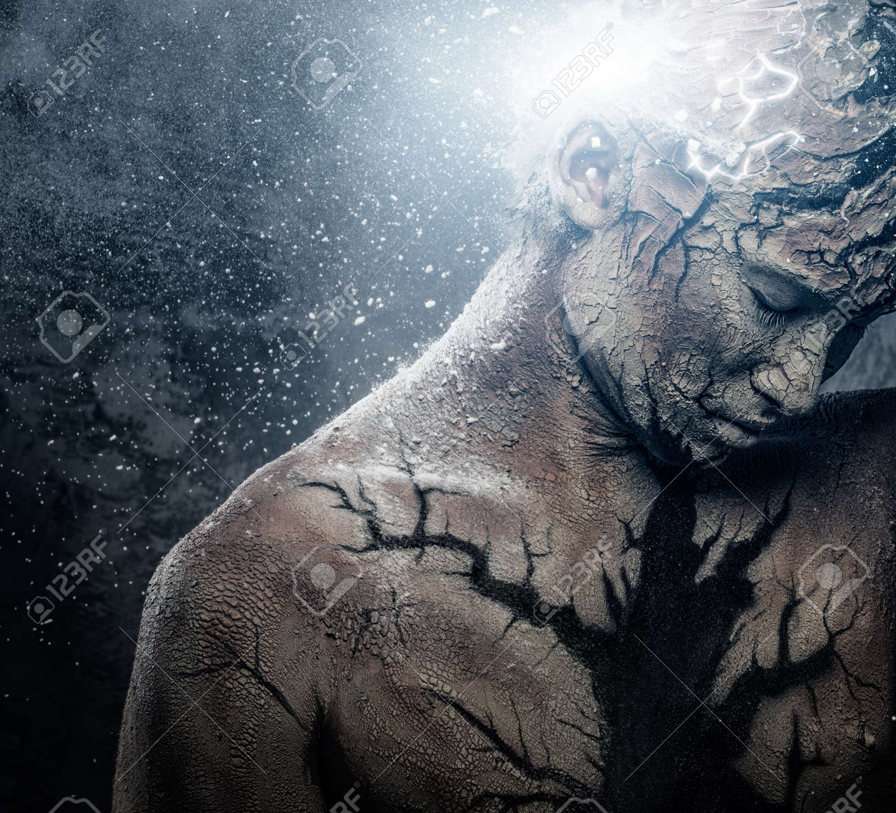 Man With Conceptual Spiritual Body Art Stock Photo Picture And Royalty Free Image Image 22782424