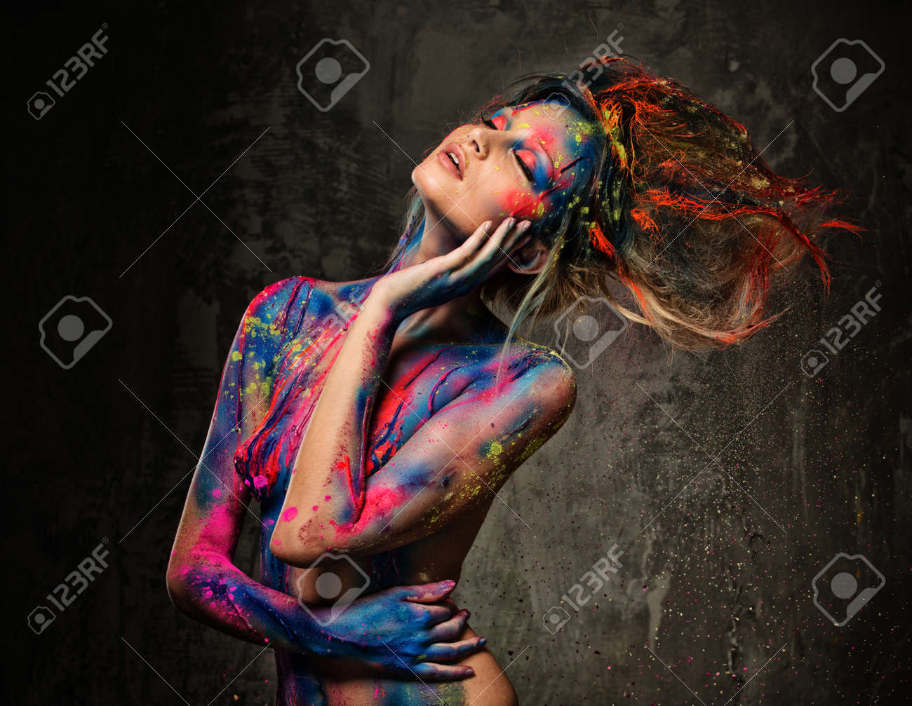 Young Woman Muse With Creative Body Art And Hairdo Stock Photo Picture And Royalty Free Image Image 25739978