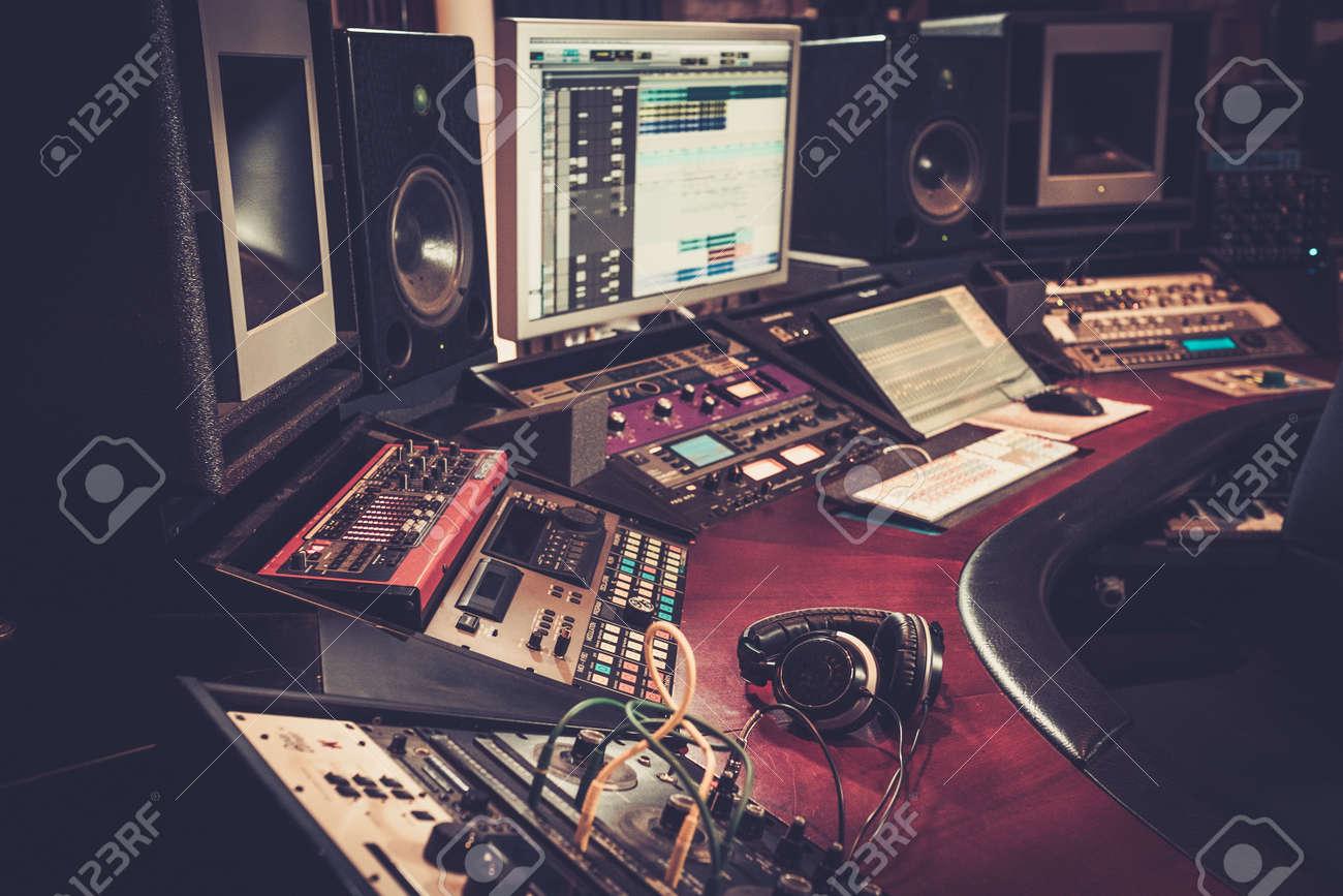 Close-up of boutique recording studio control desk. - 51873603