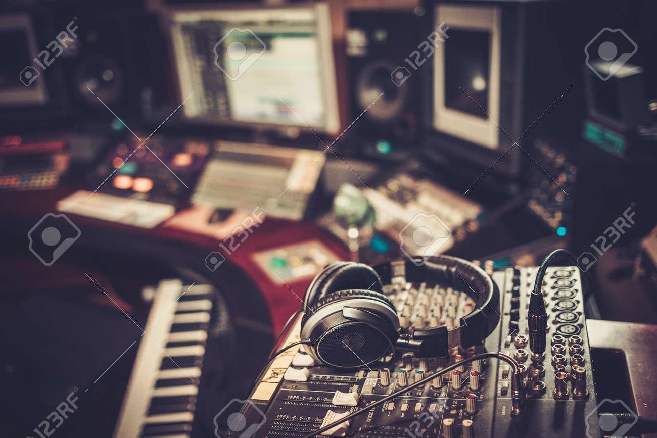 Close-up of boutique recording studio control desk. Stock Photo - 51873411