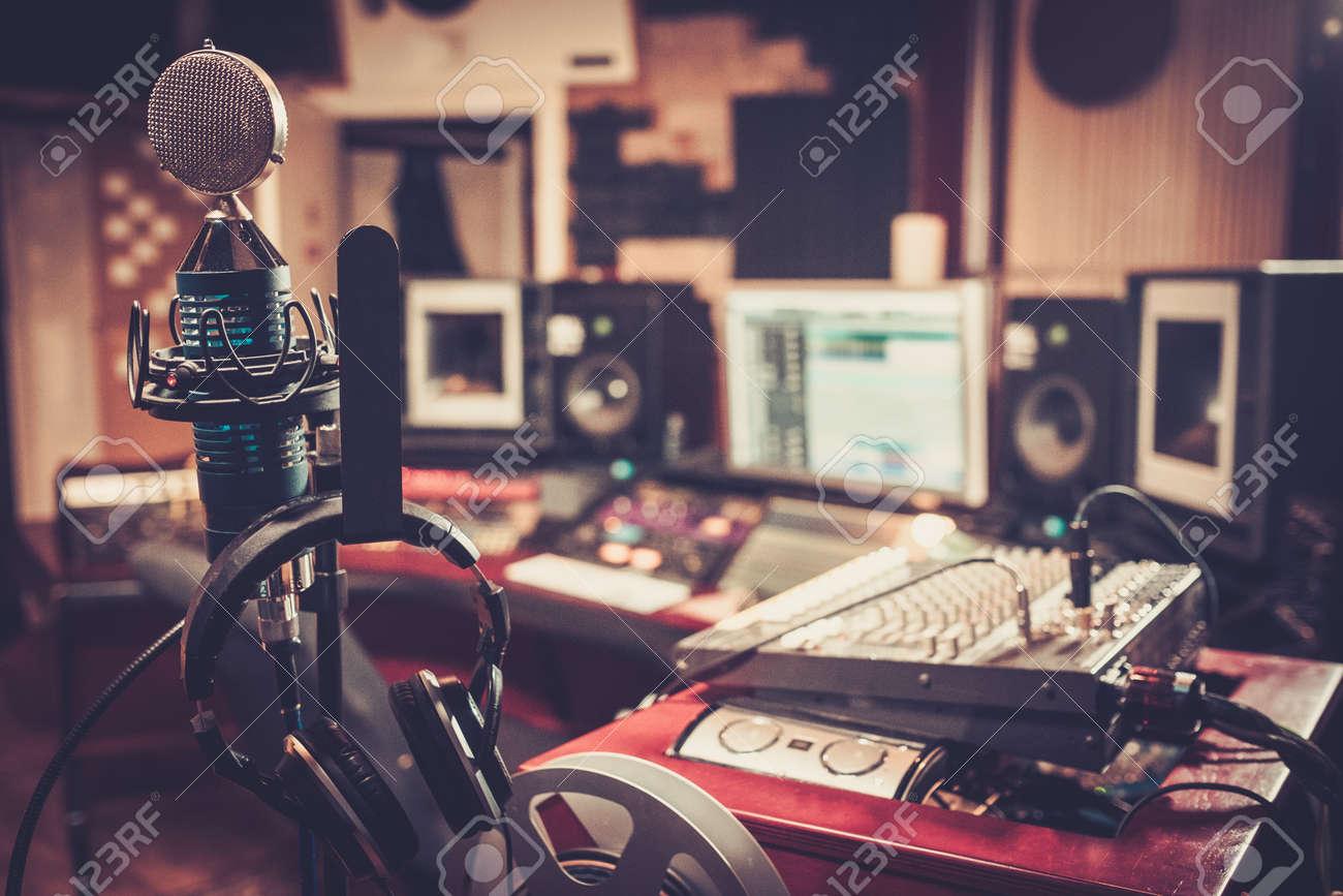 Close-up of boutique recording studio control desk. - 52721758