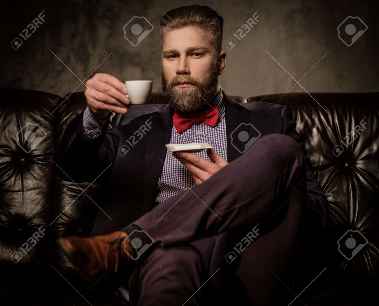 Old-fashioned bearded man sitting in comfortable leather sofa..