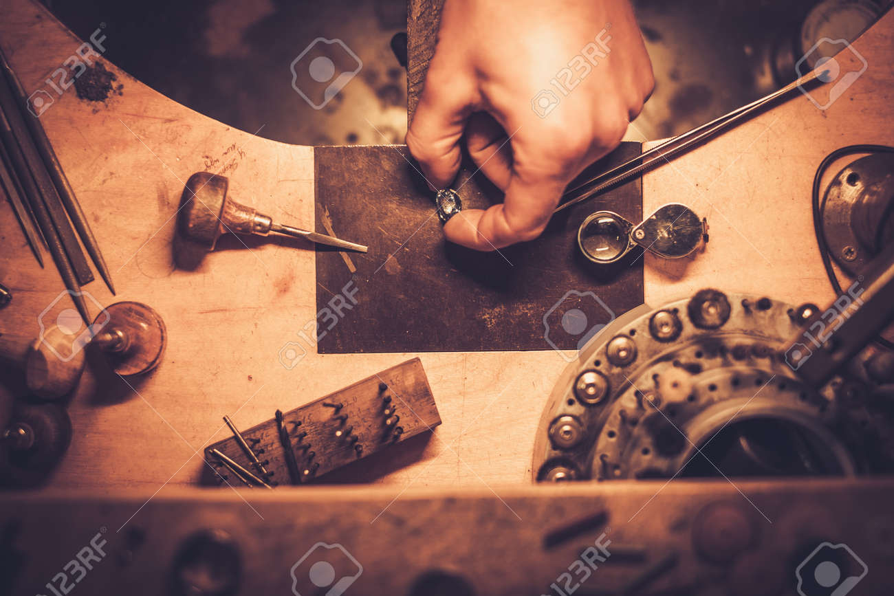 Desktop for craft jewellery making with professional tools. Stock Photo - 57501840