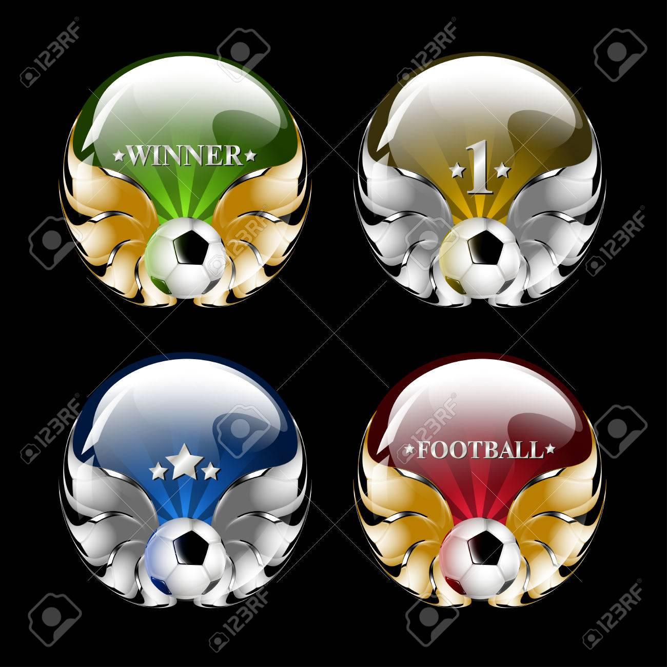 vector football emblem on a black background Stock Vector - 8254868