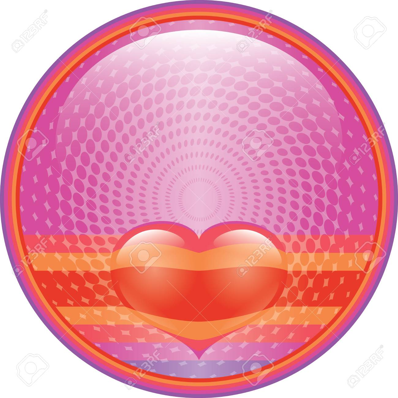 Hot pink floating red Heart internet button Stock Vector - 8885154