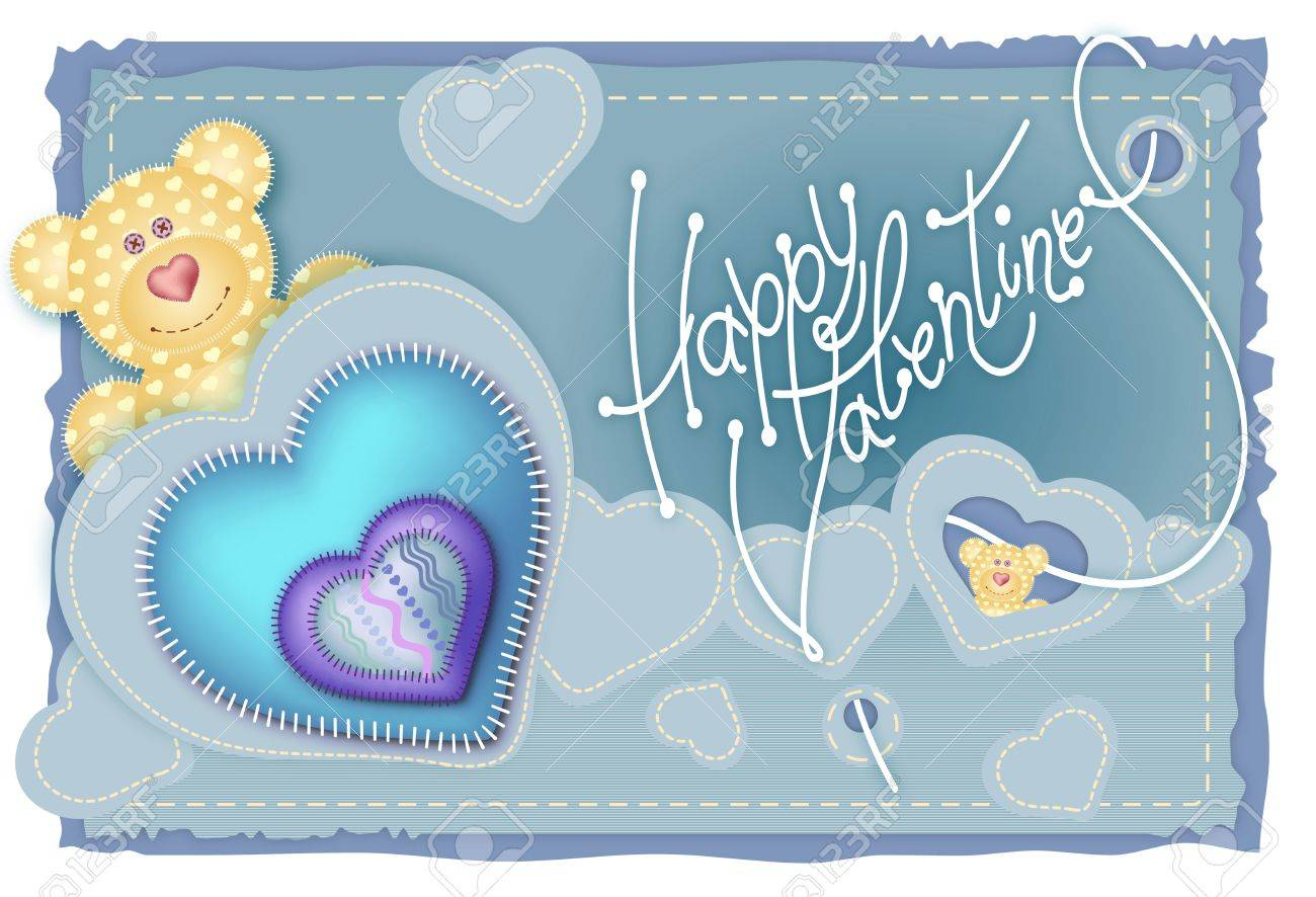 Greeting Card Valentines Day. Merry Embroidered Teddy Bear With