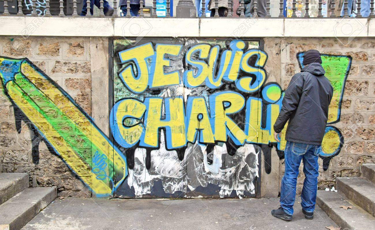 I am Charlie: the answer of a French artist to the terrorist acts committed in January, 2015 (Paris France) Banque d'images - 35831496