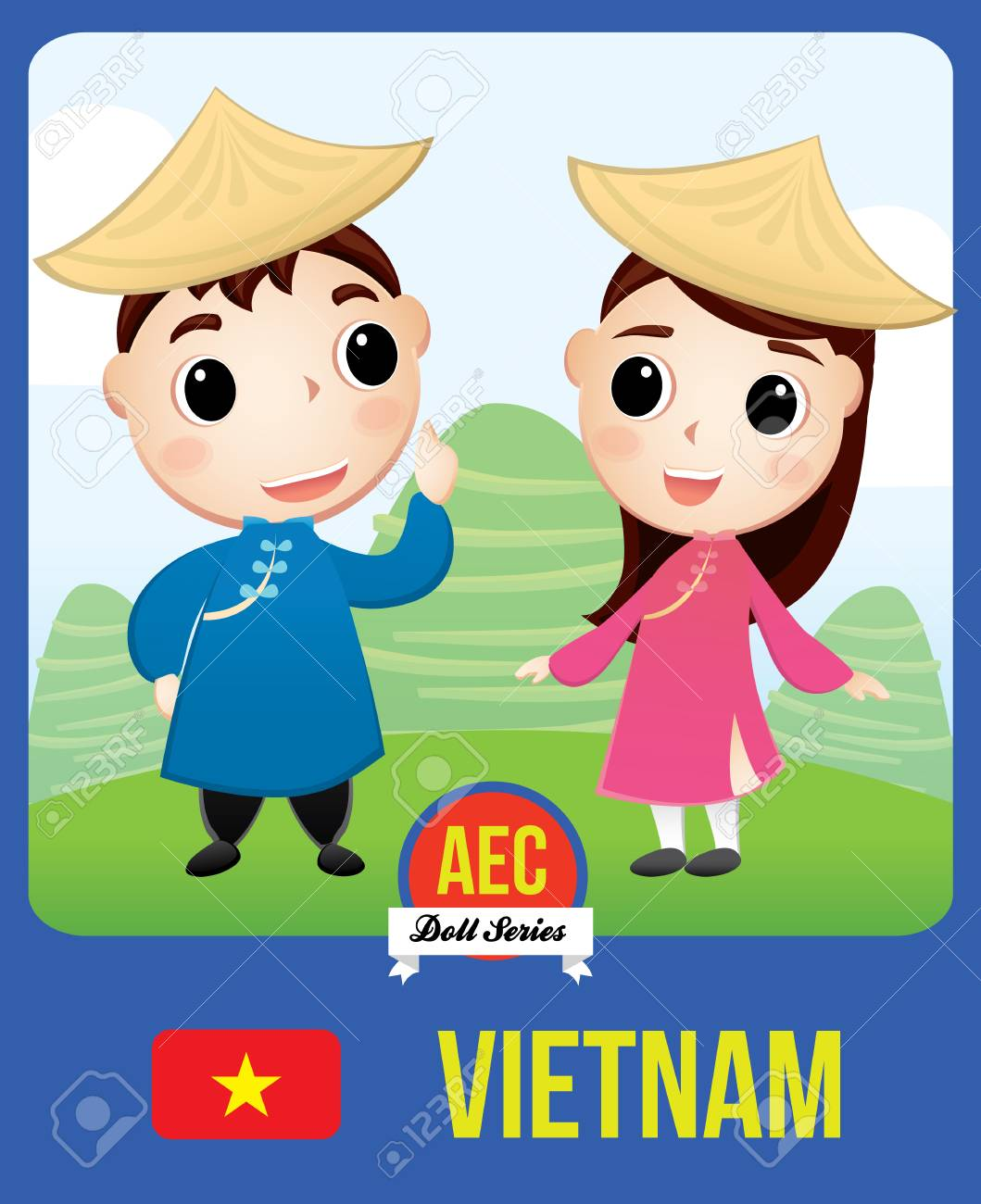 The Cute Couple Doll Of Vietnamese As A Symbol Of Vietnam Country