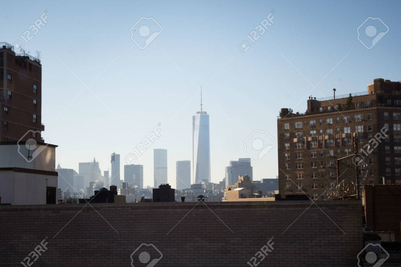 the Manhattan skyline water-towers and rooftops, concrete jungle in New York, looking the roof and skyline in the background - 24830589