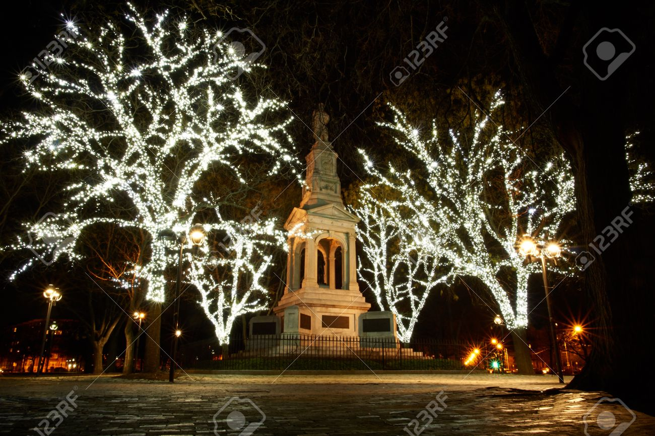 White christmas lights - Statue At Cambridge Common Park Lit With White Christmas Lights At Night Stock Photo 24858458