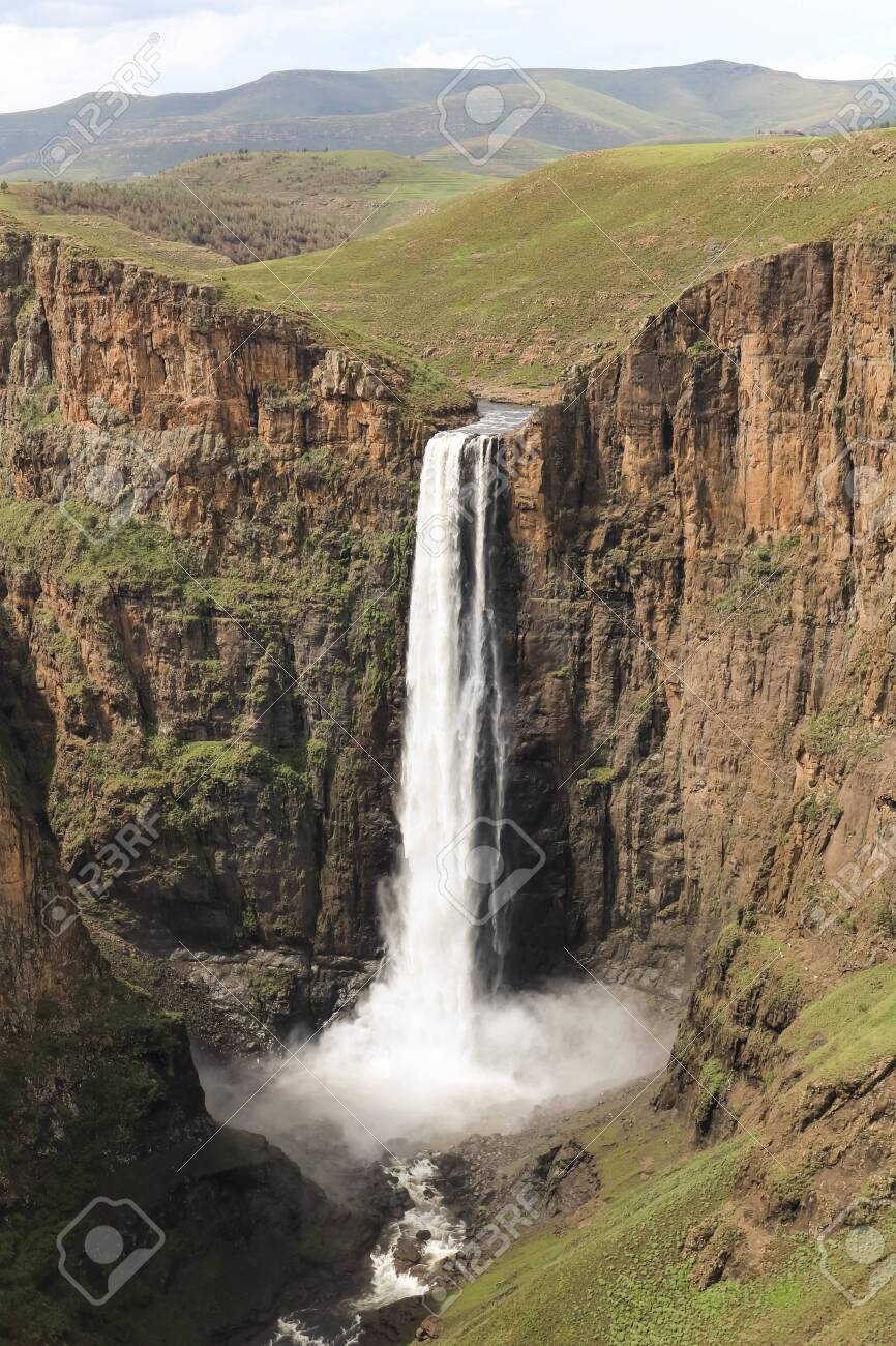 close-up of stunning waterfall running down a steap canyon - 142518530