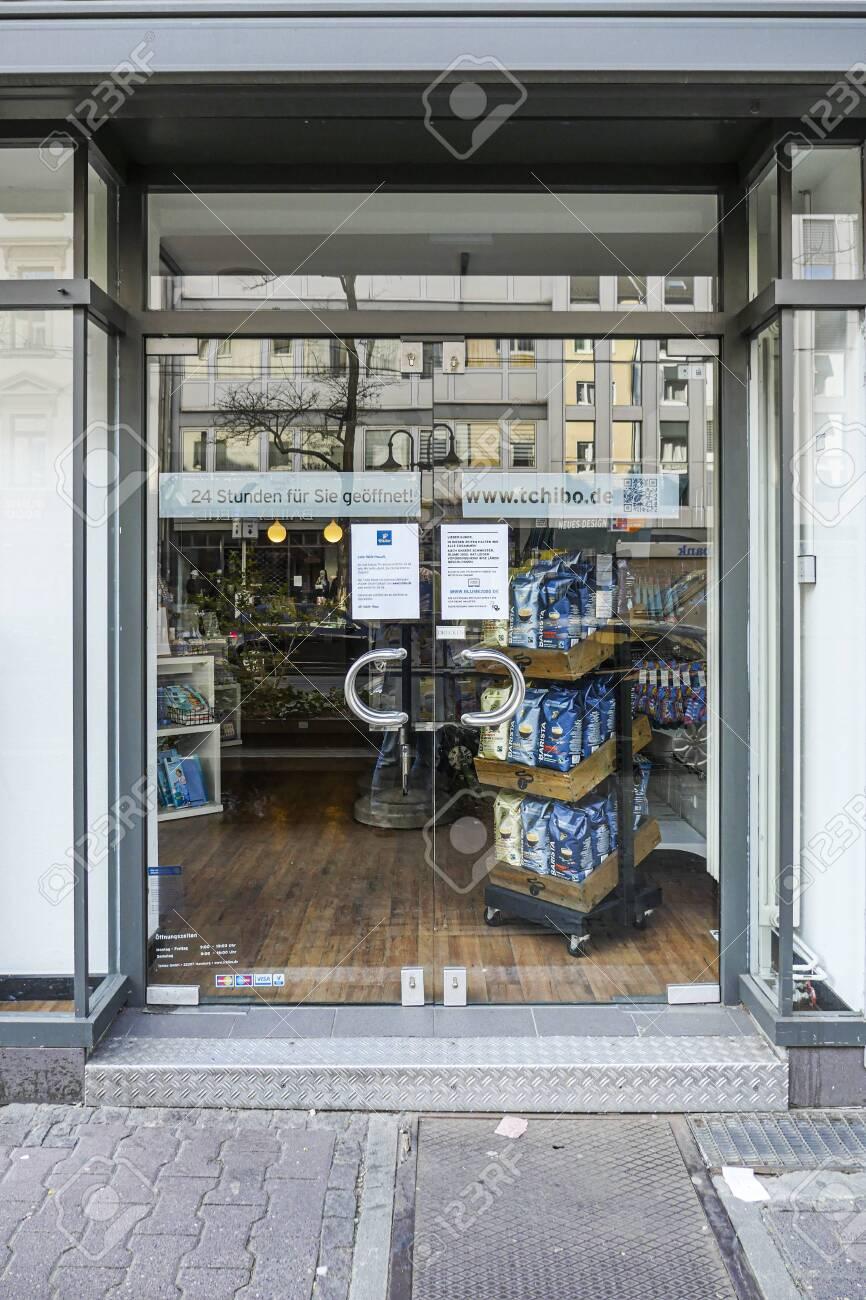 Coronavirus lockdown. Frankfurt, Germany. April 5, 2020. Closed glass doors of store during covid-19 quarantine. - 144821540