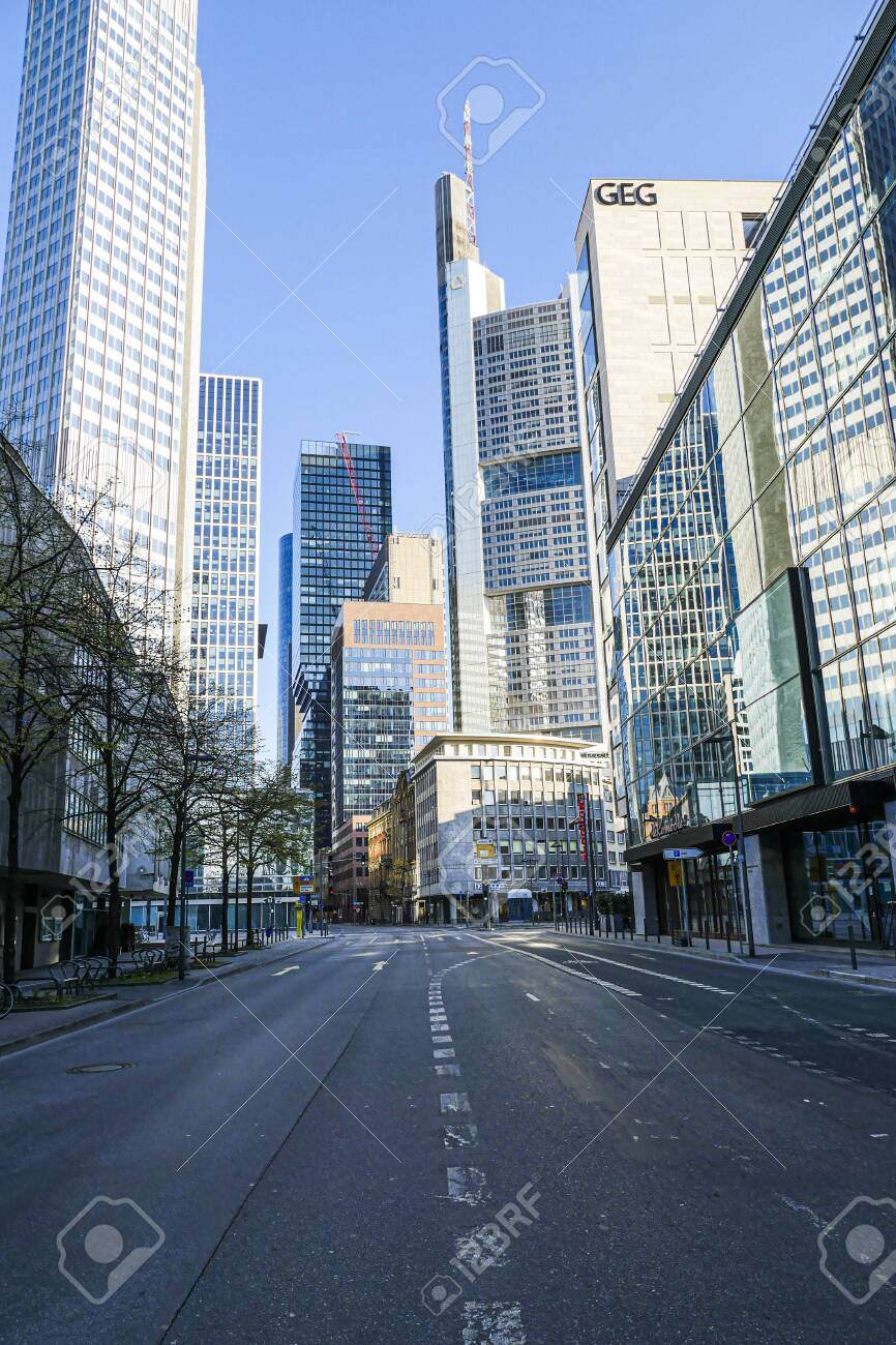 Coronavirus lockdown. Frankfurt, Germany. April 5, 2020. Bankenviertel financial banking district skyscrapers and deserted street during covid19 pandemic. - 144821555