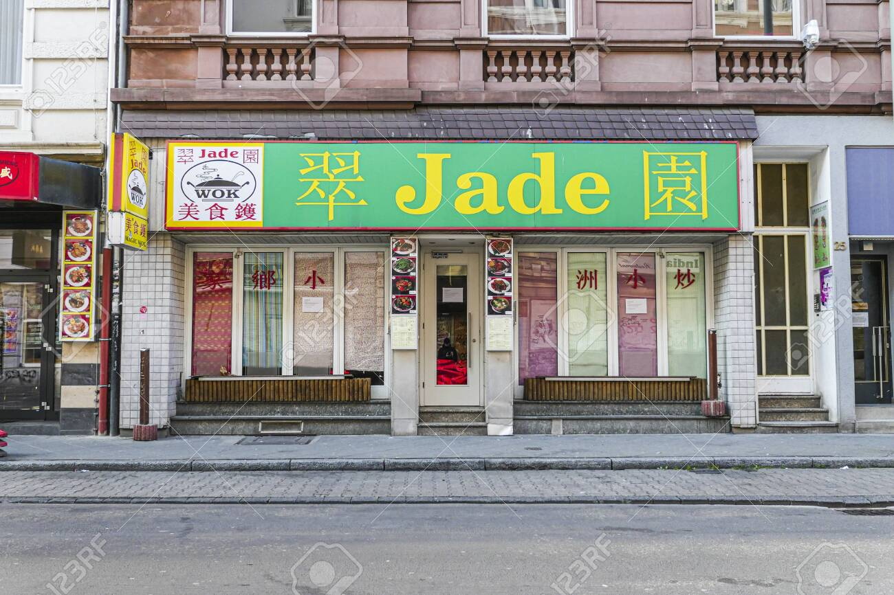Coronavirus lockdown. Frankfurt, Germany. April 5, 2020. Bahnhofsviertel Chinese restaurant locked-down during covid-19 pandemic. - 144821556