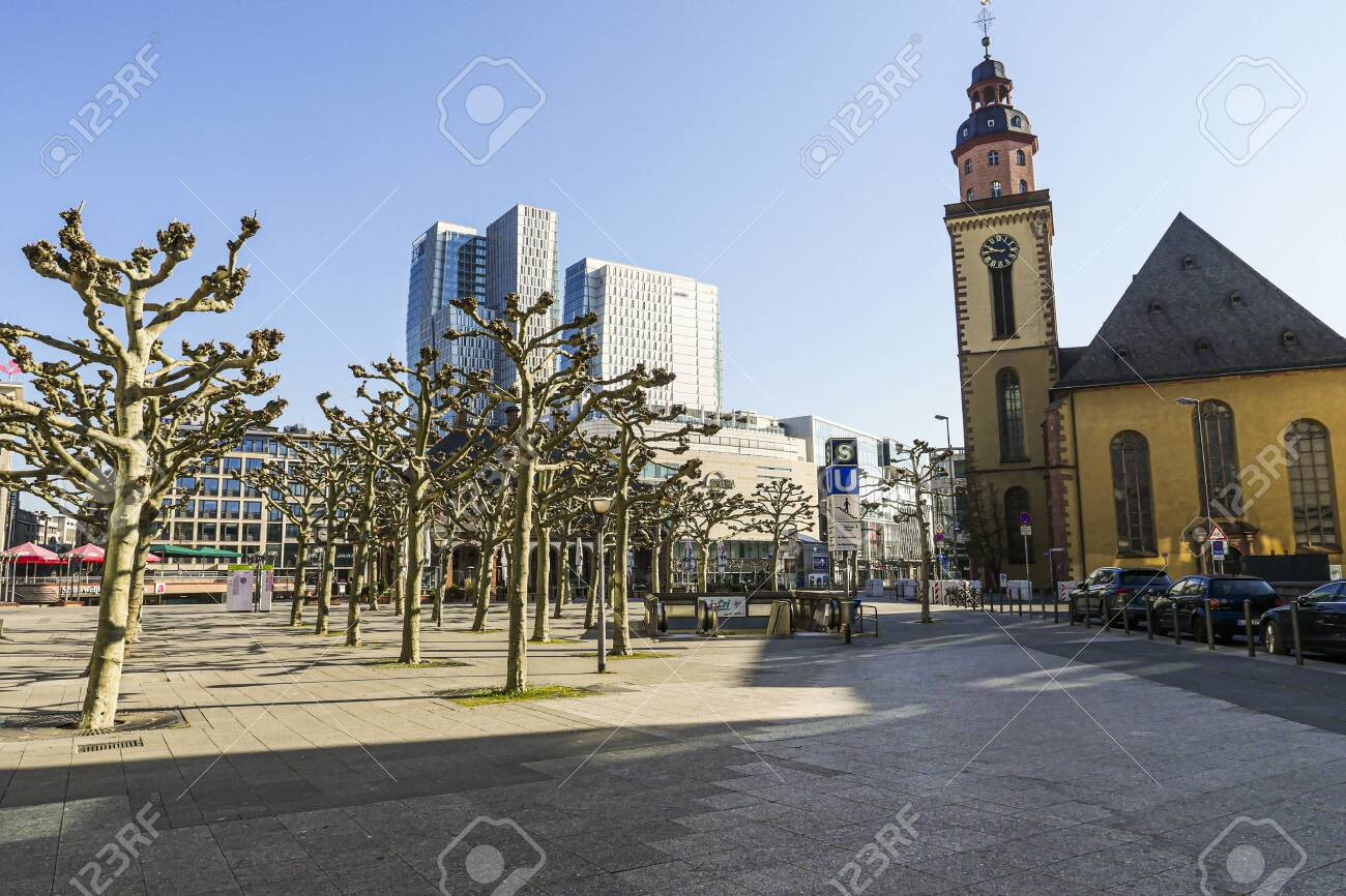 Coronavirus lockdown. Frankfurt, Germany. April 5, 2020. Empty promenade with St. Paul's church and modern buildings druid covid-19 quarantine. - 144821566