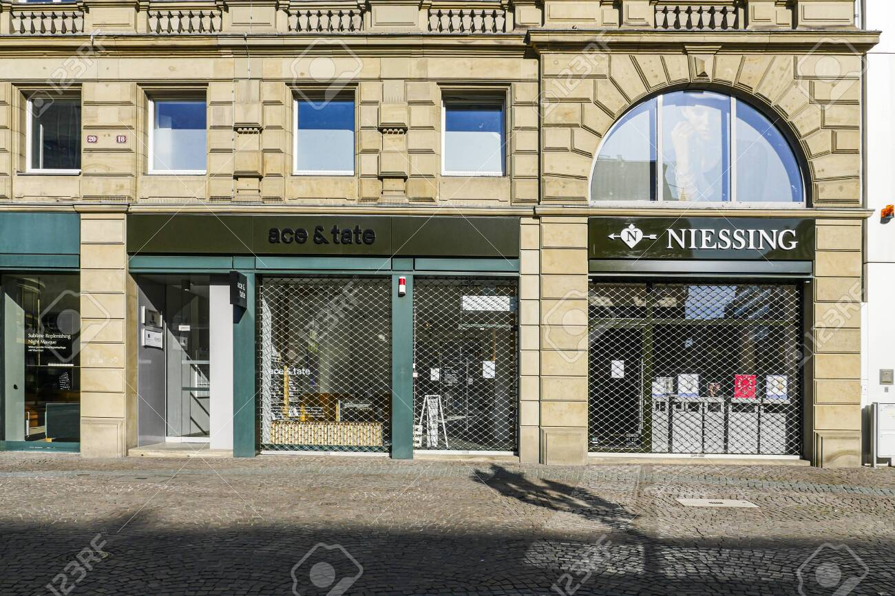 Coronavirus lockdown. Frankfurt, Germany. April 5, 2020. Barred up stores in Kaiserplatz during covid-19 pandemic lockdown. - 144821568