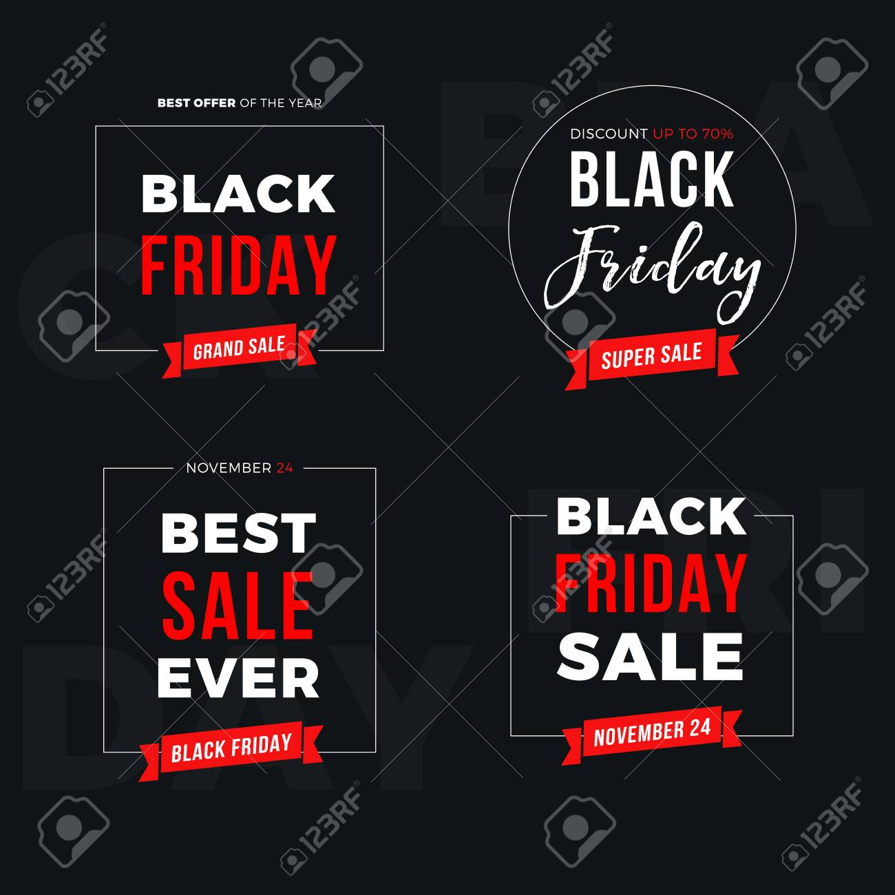 Set Of Black Friday Sale Banners Most Popular Promo Of The Royalty Free Cliparts Vectors And Stock Illustration Image 111480484