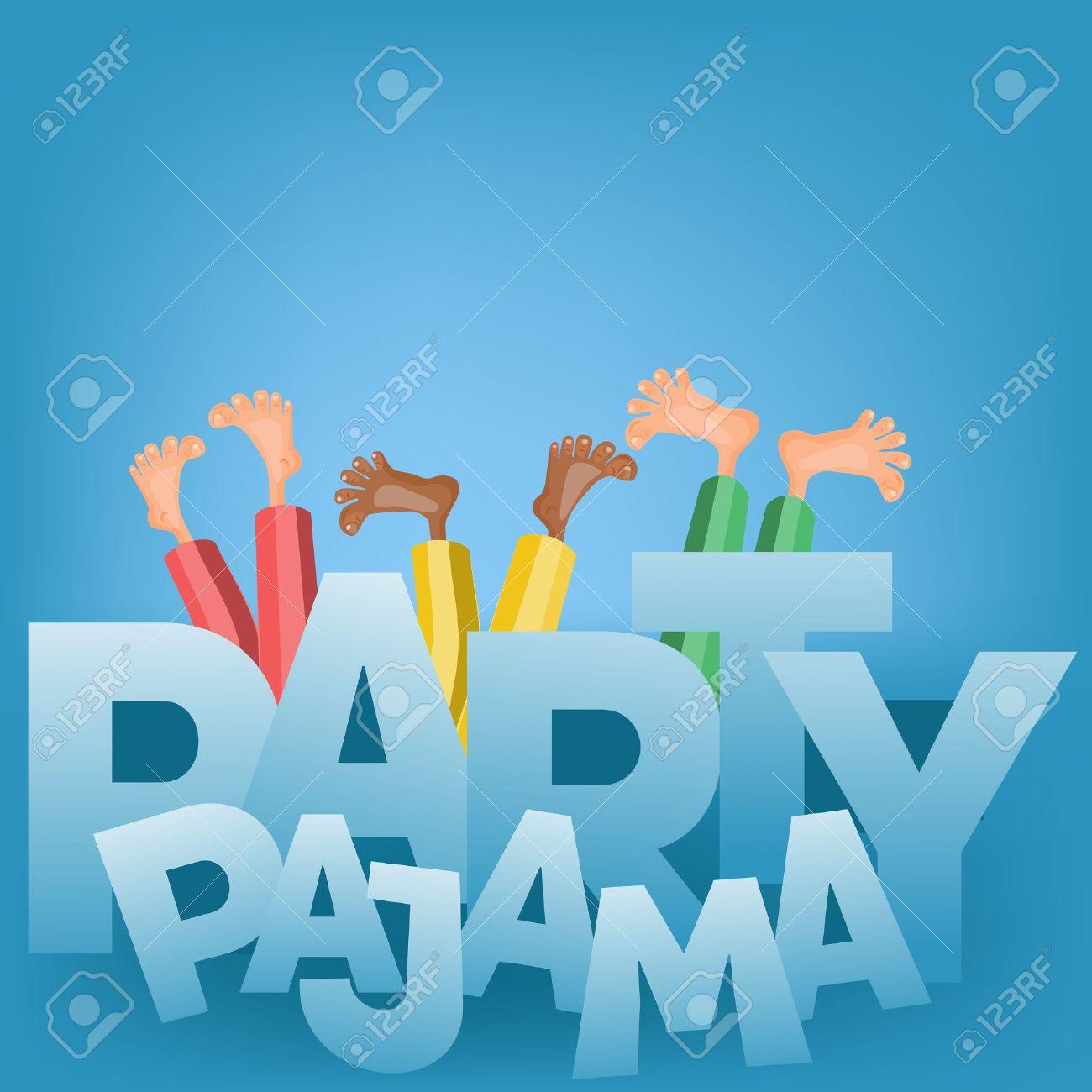 Illustration Des Garçons Ayant Pyjama Soirée Pyjama Vector Card