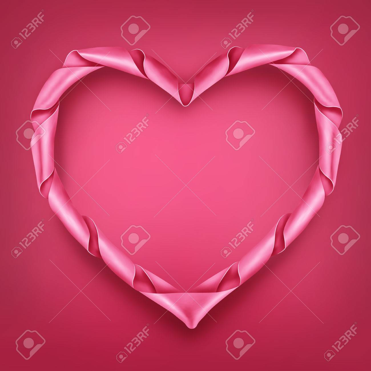 Pink Ribbon Heart Shaped Frame Template Valentines Day Vector