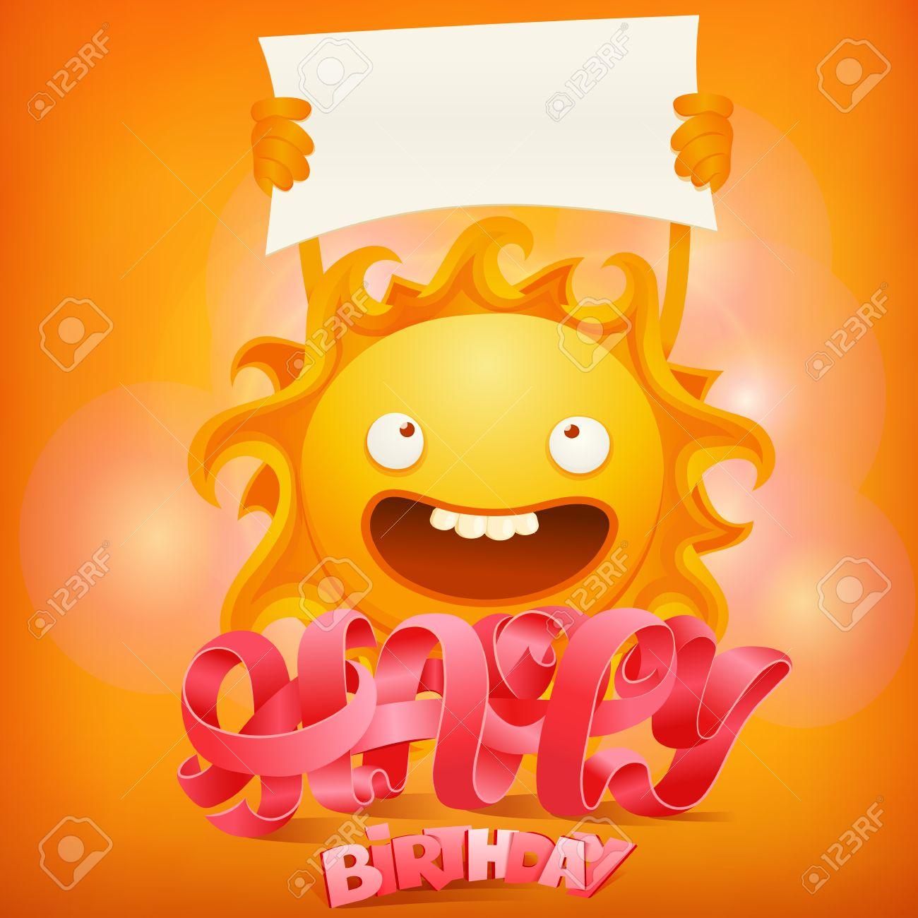 Alles Gute Zum Geburtstag Konzept Karte Mit Verruckten Sonne