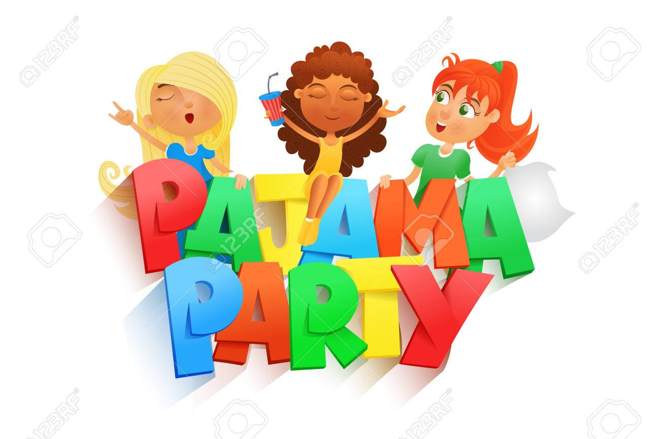 illustration of three girls having pajama party invintation rh 123rf com pyjama party clipart pajama party clipart free
