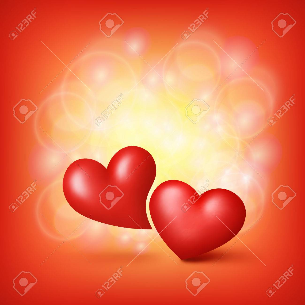 Love Hearts. Valentine Card Template. Vector Illustration Royalty ...
