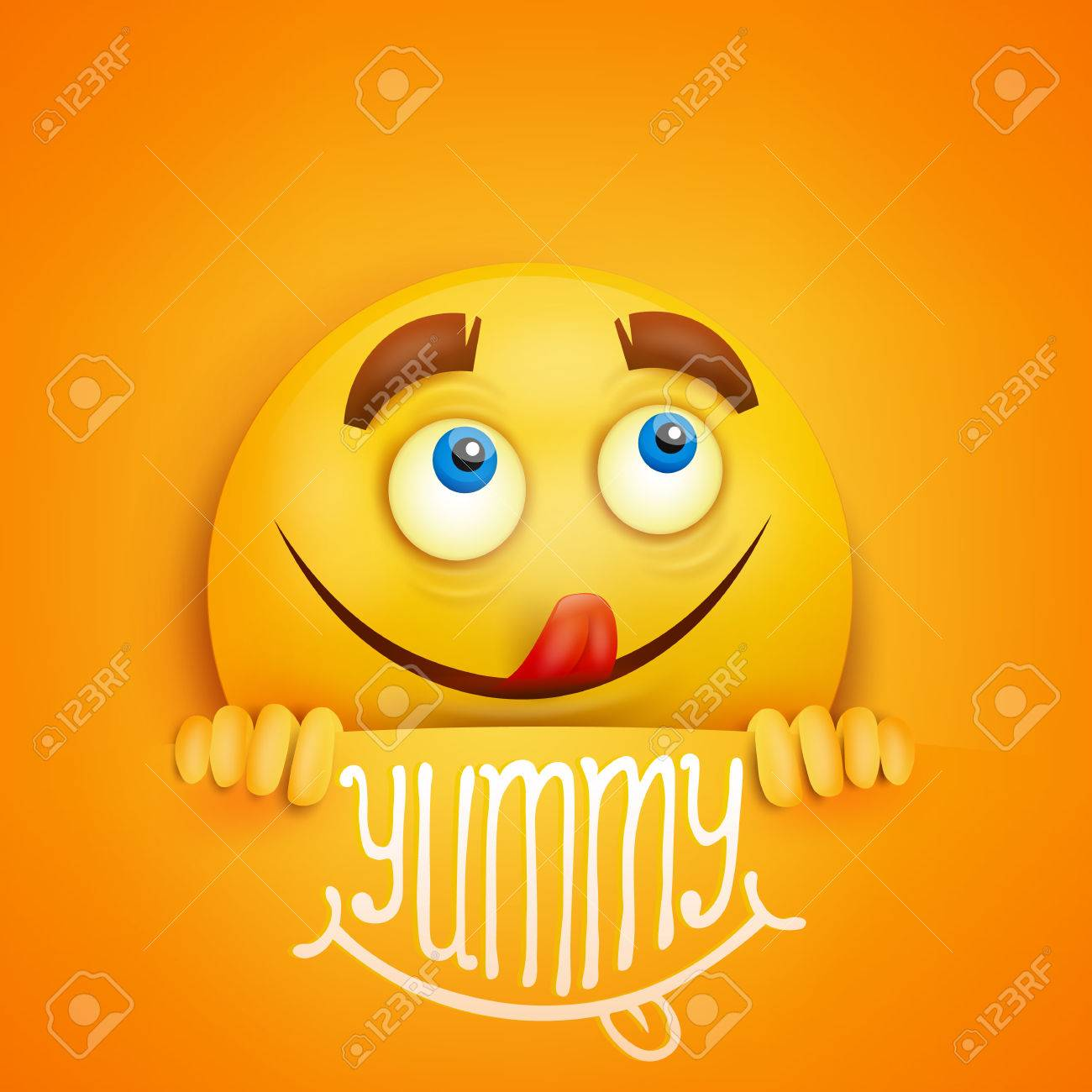 Happy smiley yellow round face. Yummy title. Vector card - 65193069