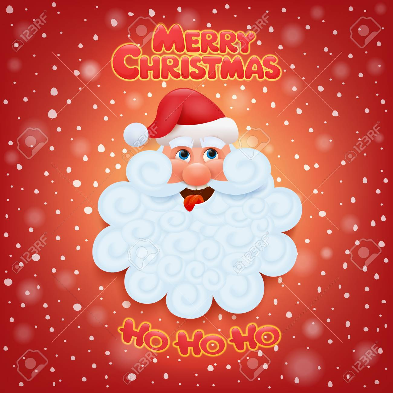 Holiday Greeting Card With Santa Claus Head. Merry Christmas ...