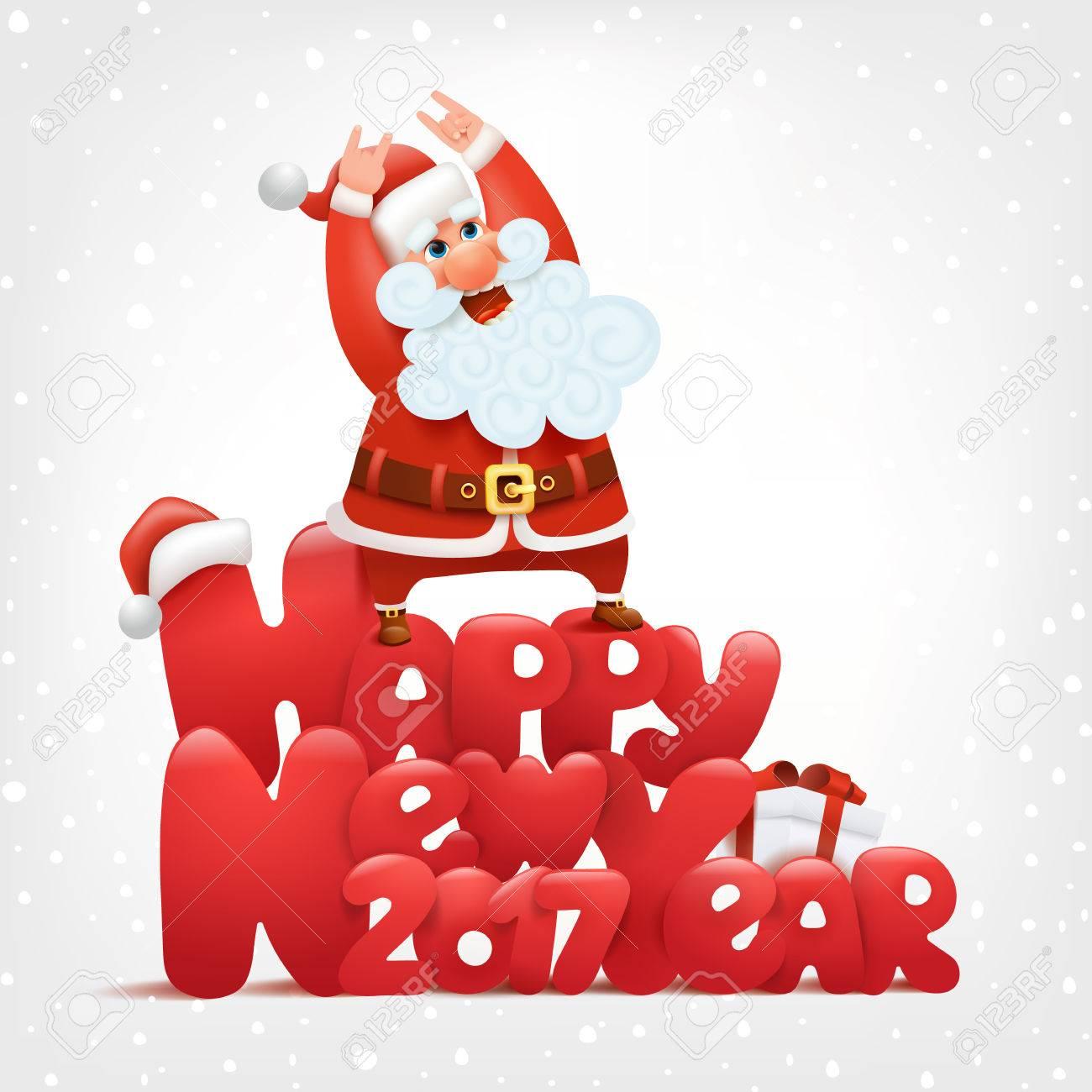 happy new year invitation card crazy santa concept vector illustration stock vector 67259311